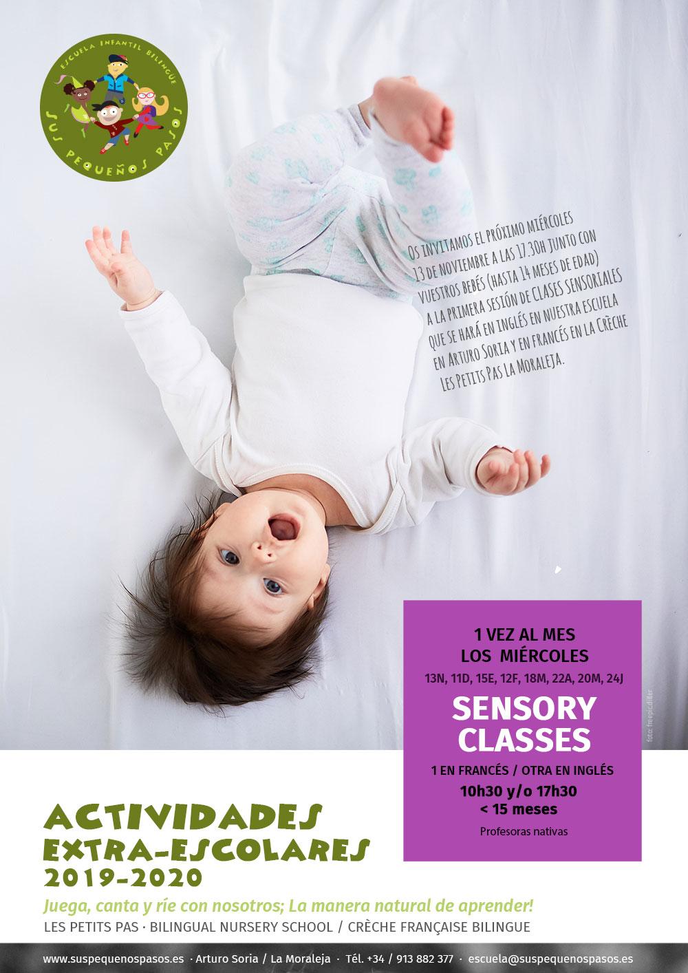 CLASES SENSORIALES para Bebés, Mamas & Papas – Miércoles 13N